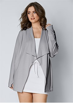 plus size drape front cardigan
