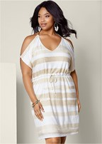 plus size cold shoulder stripe dress