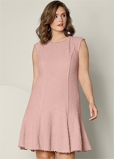 Plus Size Textured Flare Dress