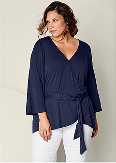 plus size belted surplice top