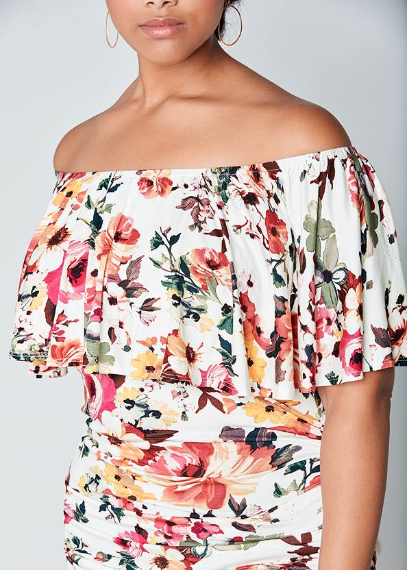Alternate View Ruched Off-The-Shoulder Top