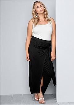 plus size tie front long skirt