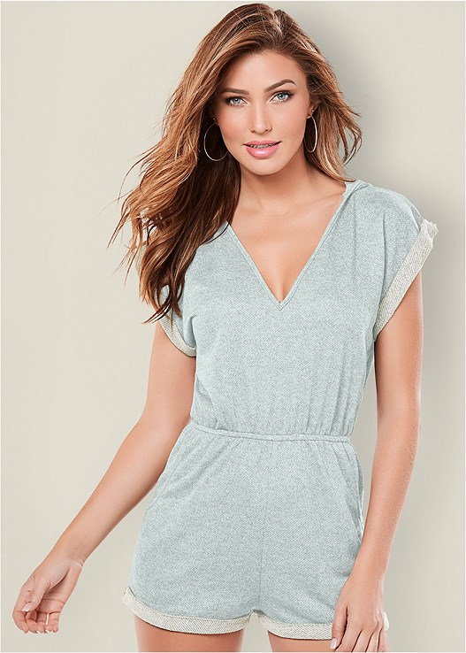 48045cf047 HOODED FRENCH TERRY ROMPER in Light Blue