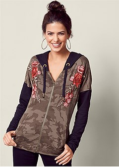 floral detail camo hoodie