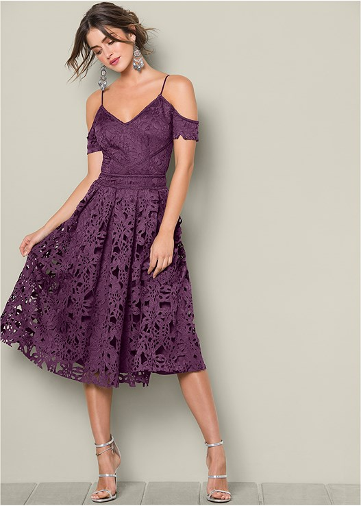 Lace Midi Dress in Dark Purple | VENUS
