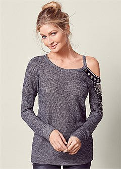 jeweled shoulder sweatshirt