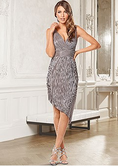 metallic asymmetrical dress