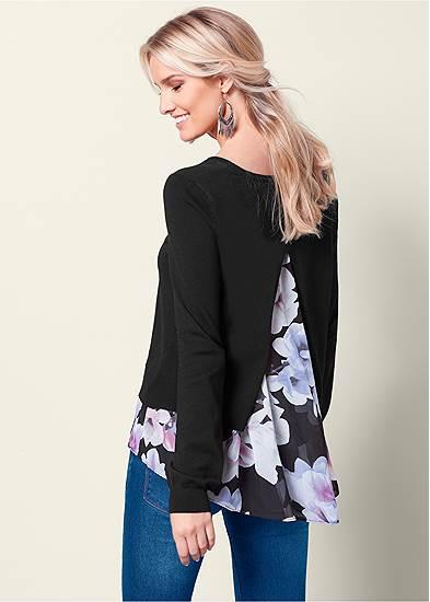 Floral Print Twofer Sweater
