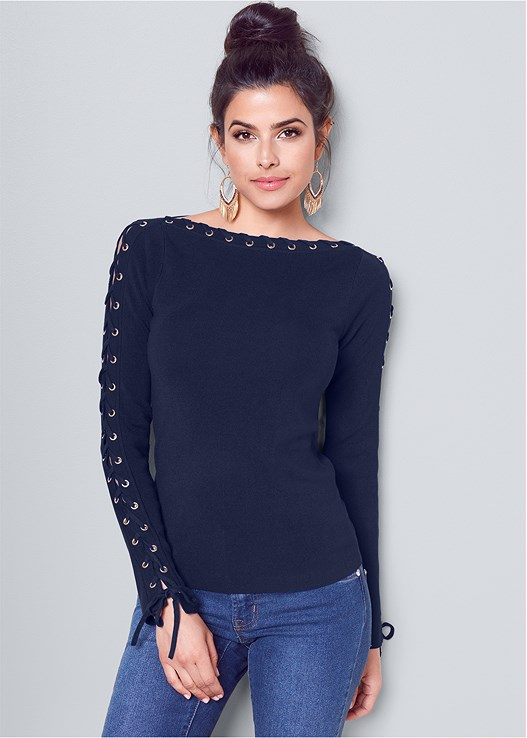 LACE UP BOAT NECK SWEATER,HOOP TASSEL DROP EARRINGS,COLOR SKINNY JEANS,TIE BACK OVER THE KNEE BOOT