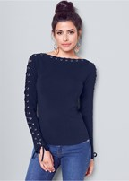lace up boat neck sweater