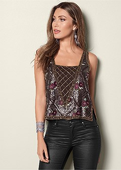 all over beaded top