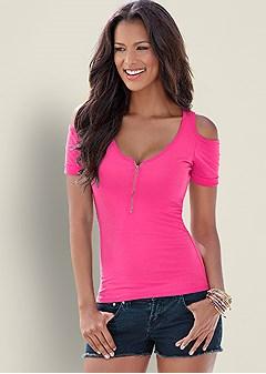 cold shoulder zipper top