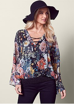 floral lace up blouse