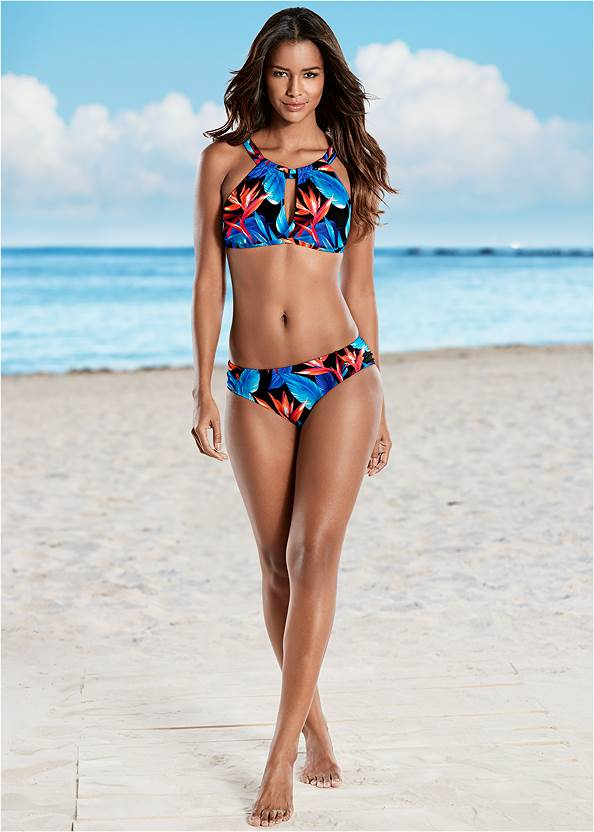 Keyhole High Neck Top,Ruched Low Rise Bottoms,Ruched High Waisted Bottoms,Swim Short