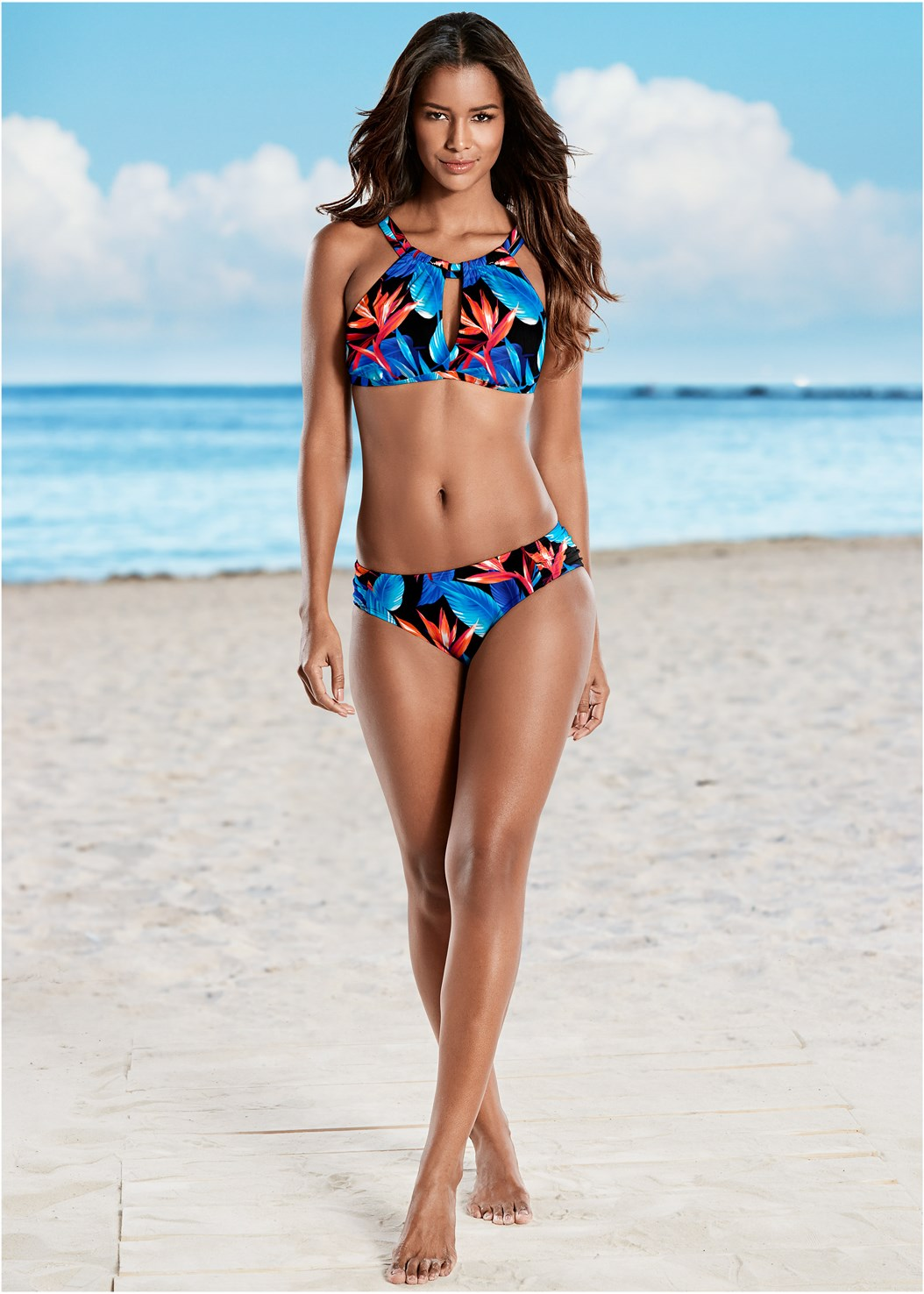 Keyhole High Neck Top,Ruched Low Rise Bottoms,Ruched High Waisted Bottoms,Swim Short,Adjustable Side Bottom