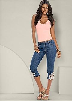 crochet capri jeans
