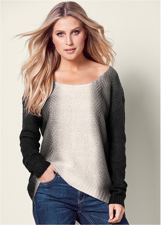 DIP DYE SCOOP NECK SWEATER