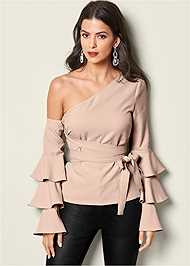 Front view Ruffle Off The Shoulder Top