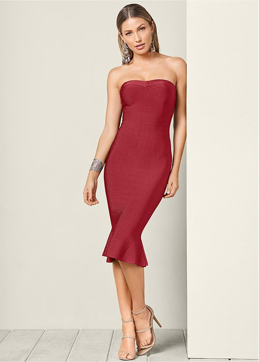 SLIMMING STRAPLESS DRESS