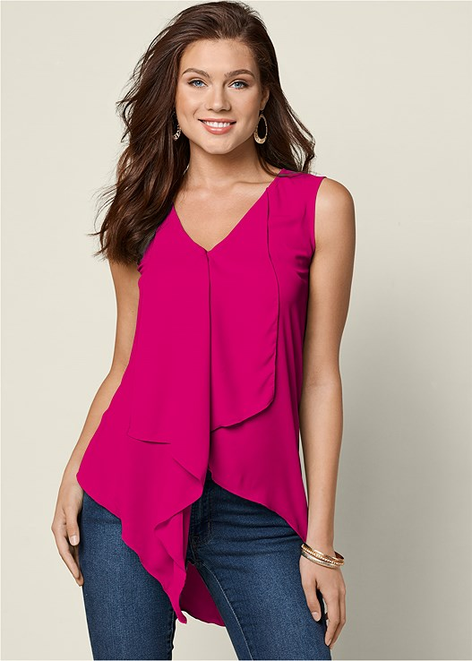 Fuchsia Ruffle Front Blouse From Venus