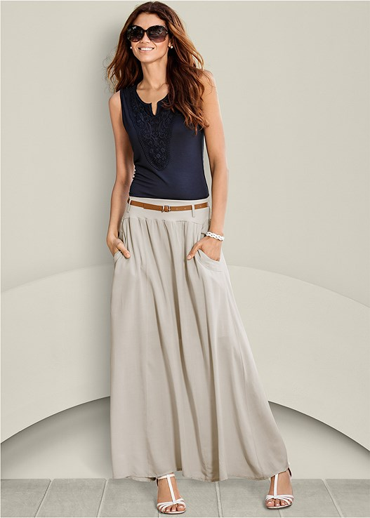 POCKET DETAIL MAXI SKIRT