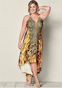 plus size low back printed maxi dress