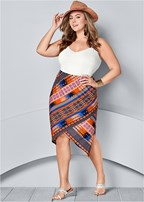 plus size surplice front skirt