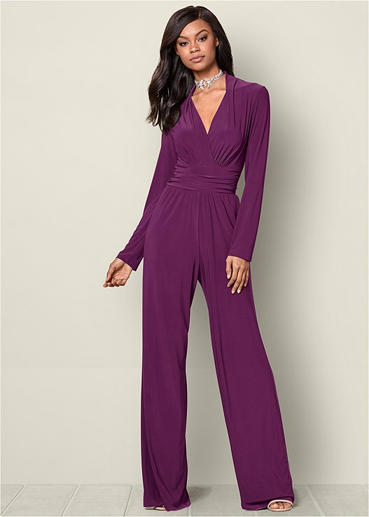 V-NECK WAIST DETAIL JUMPSUIT WITH POCKETS,HIGH HEEL STRAPPY SANDALS