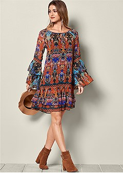 printed ruffle detail dress