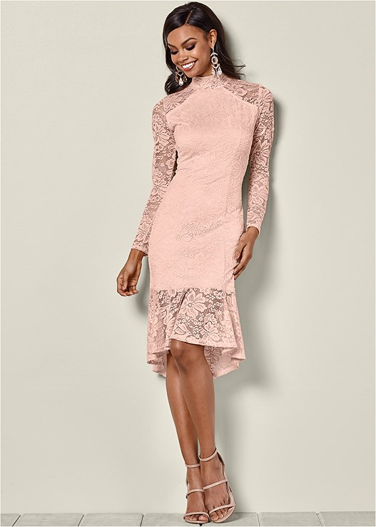 ALL OVER LACE DRESS,HIGH HEEL STRAPPY SANDALS