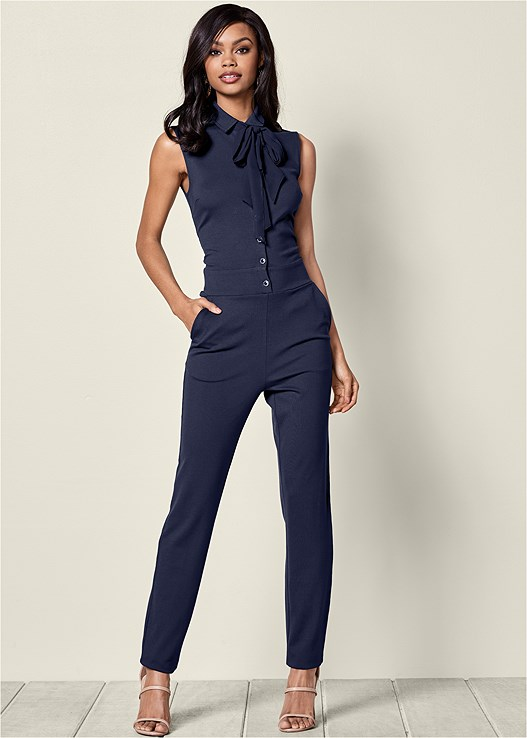 BUTTON DETAIL JUMPSUIT,HIGH HEEL STRAPPY SANDALS