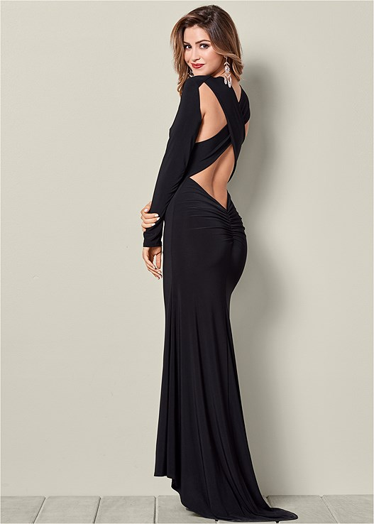 BACK DETAIL LONG DRESS,HIGH HEEL STRAPPY SANDAL,EMBELLISHED VELVET HANDBAG,VENUS CUPID BRA