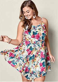 plus size floral mini dress