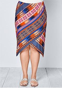 plus size surplice front skirt