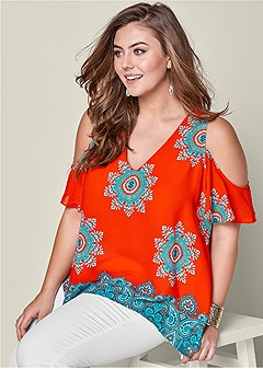 plus size cold shoulder print top