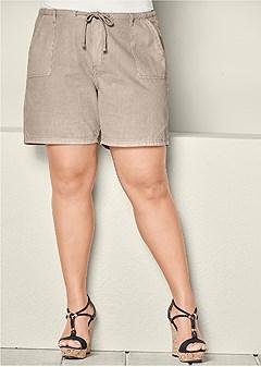 plus size long linen tie shorts