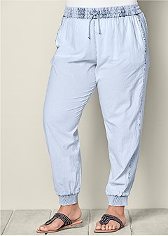 plus size acid wash jogger pant