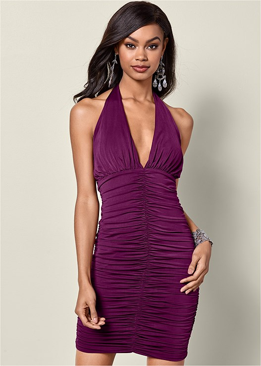 HALTER BODYCON DRESS,HIGH HEEL STRAPPY SANDALS,CUPID BACKLESS U PLUNGE BRA