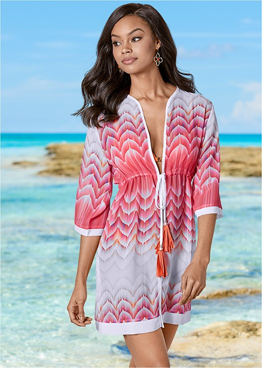 TASSEL TIE FRONT COVER-UP,LOW RISE BIKINI BOTTOM
