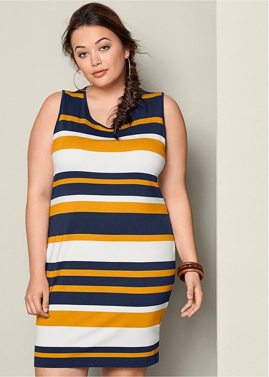 Plus Size STRIPED BODYCON DRESS | VENUS