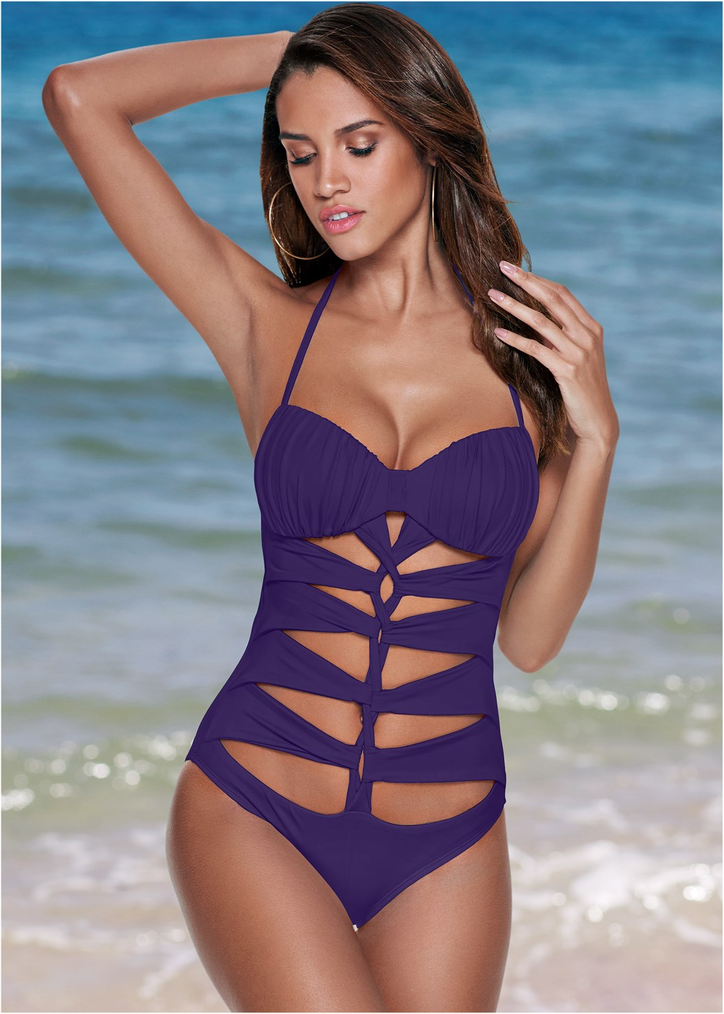 Drama Queen One-Piece,Lace Up Crochet Cover-Up