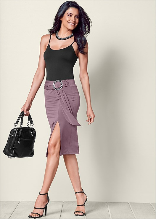 RING AND SASH MIDI SKIRT,SEAMLESS CAMI,HIGH HEEL STRAPPY SANDALS,FAUX FUR CHAIN DETAIL BAG