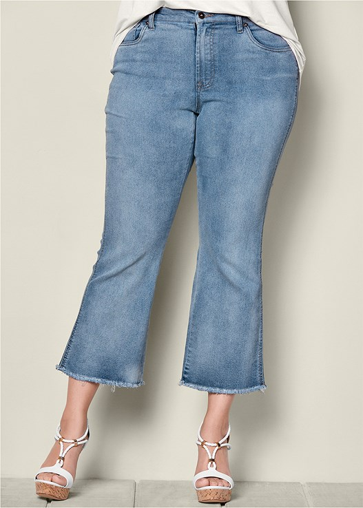 410c40cb12 Plus Size FRAYED HEM CROP JEANS in Medium Wash