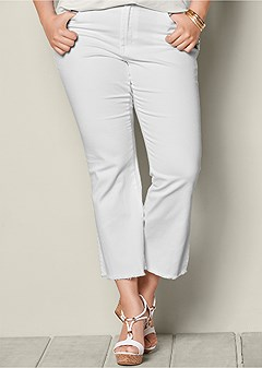 plus size frayed hem crop jeans