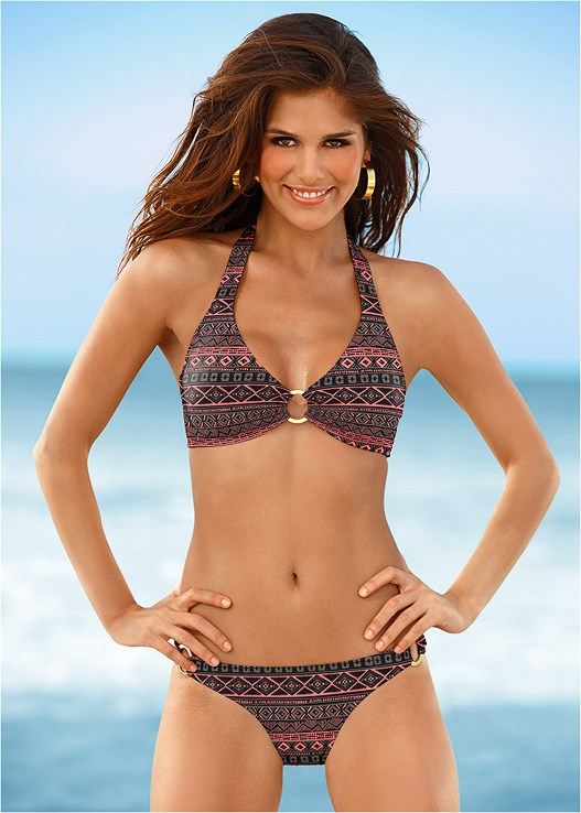 9e12e94461 Sand   Stripes SPORT HALTER BIKINI TOP from VENUS