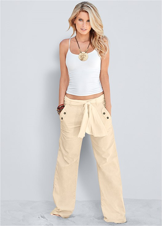 LINEN BELTED PANTS,SEAMLESS CAMI,HAMMERED METAL NECKLACE