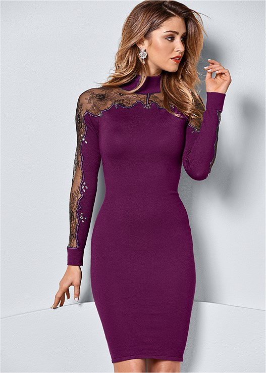 Lace Detail Sweater Dress In Dark Purple Black Venus