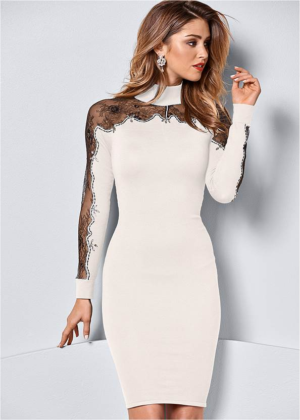 Lace Detail Sweater Dress,Slouchy Mid-Calf Boot