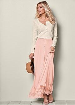 button front lace hem skirt