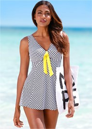 Front view Tie Front Swim Dress